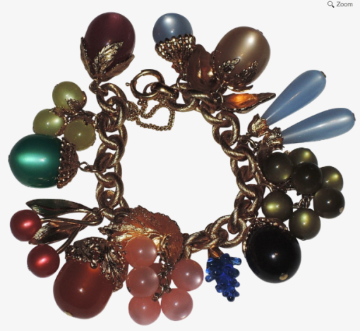 Napier 1950's moonglow fruit charm bracelet